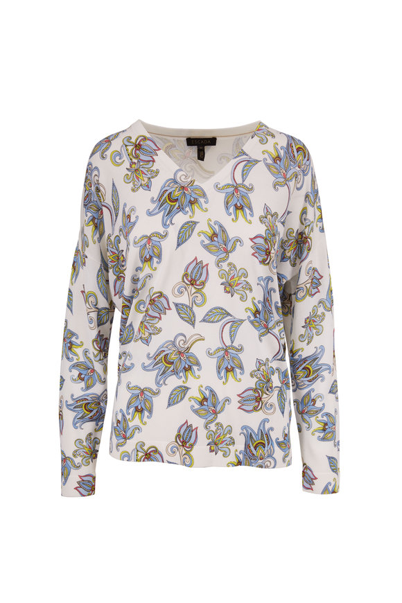 Escada Stunda Fantasy Floral Print V-Neck Sweater