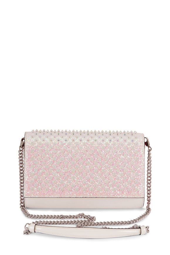 Christian Louboutin Paloma White Leather Glitter Spiked Clutch