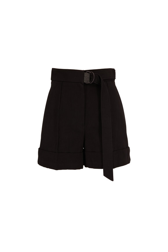 Brunello Cucinelli Black Cotton & Linen Belted Short