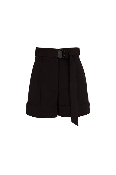 Brunello Cucinelli - Black Cotton & Linen Belted Short