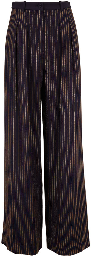 Michael Kors Collection Midnight Gold Crystal Embellished Pinstriped Pant