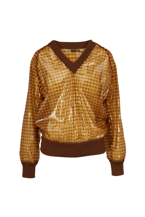 Fendi FF Brown & Gold Vichy Paillette V-Neck Pullover