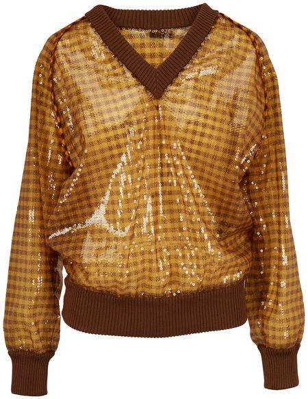 Fendi FF Brown & Gold Vichy Paillette V-Neck Pullover