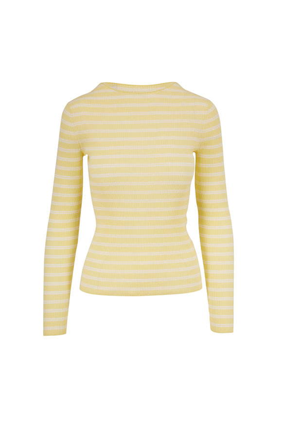 Vince Soft Yellow & Optic White Stripe Ribbed Top