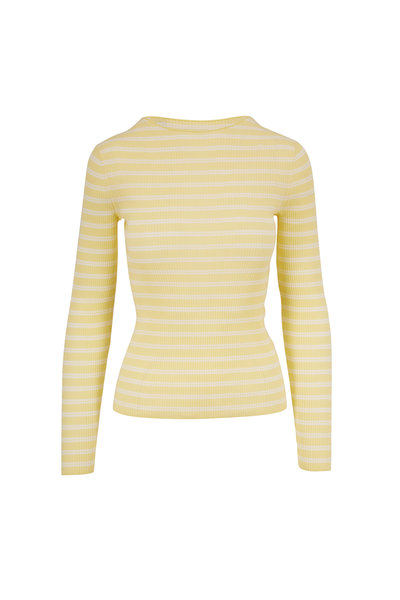 Vince - Soft Yellow & Optic White Stripe Ribbed Top