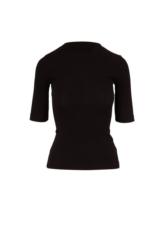 Rosetta Getty Black Cotton Jersey Elbow Sleeve Top
