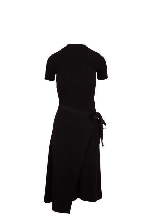 Rosetta Getty Black Micro Rib Apron Wrap T-Shirt Dress