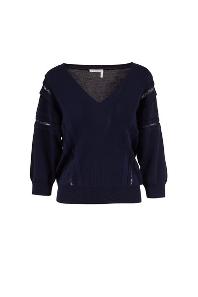 Chloé - Navy Blue Pleating & Lace Detail V-Neck Sweater