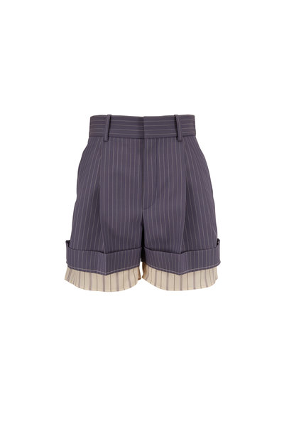 Chloé - Stormy Blue Layered Pinstripe Short