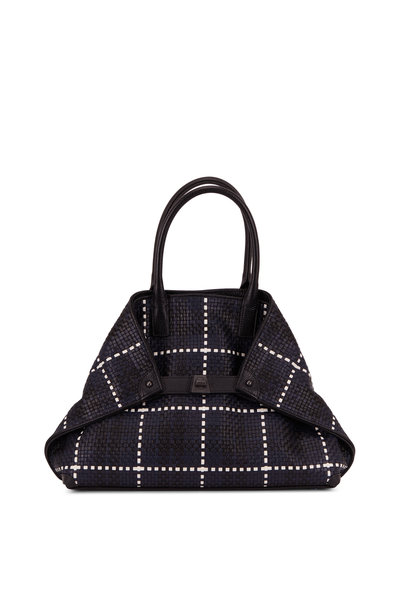 Akris - AI Denim Blue Plaid Woven Leather Small Tote