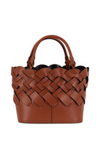 Prada - Cognac Woven Vitello Medium Tote