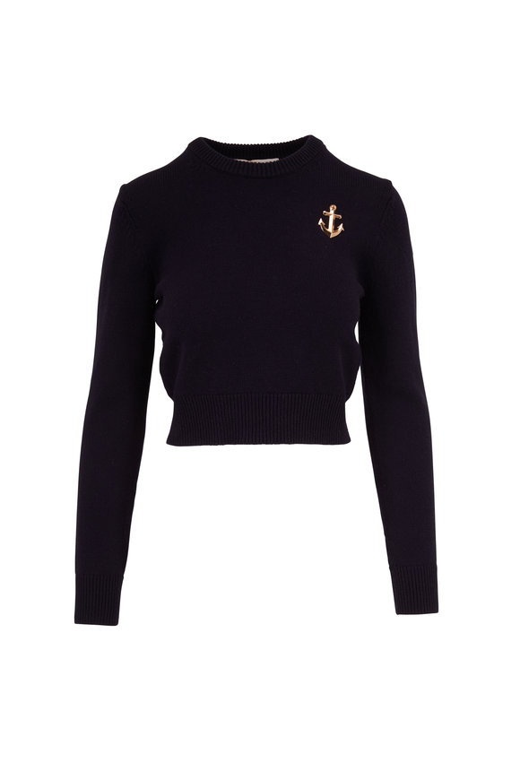 Michael Kors Collection Midnight Cashmere Anchor Embellished Sweater