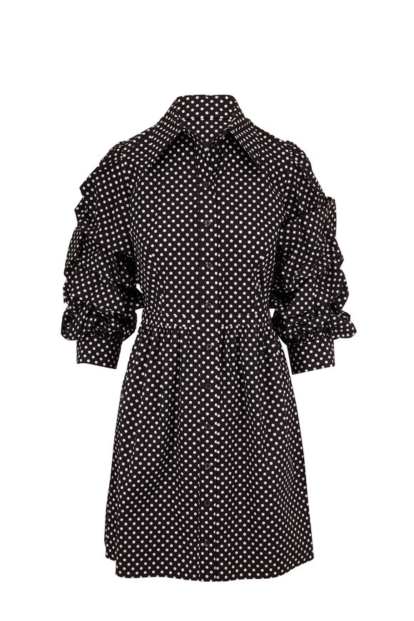 Michael Kors Collection Black & White Polka Dot Ruched Sleeve Shirtdress