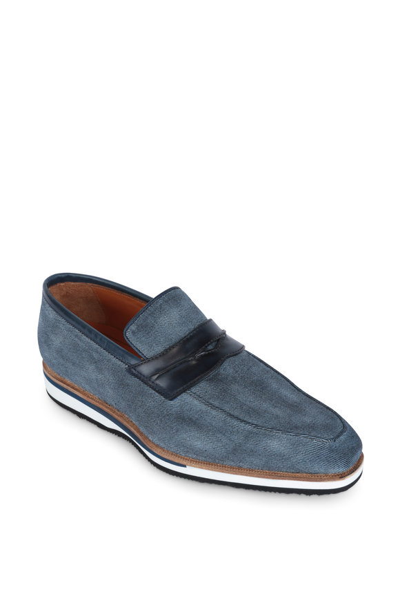 Bontoni Capitano Blue Denim & Leather Penny Loafer