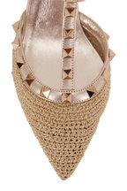 Valentino Garavani - Rockstud Gold Leather & Crochet Pump, 65mm