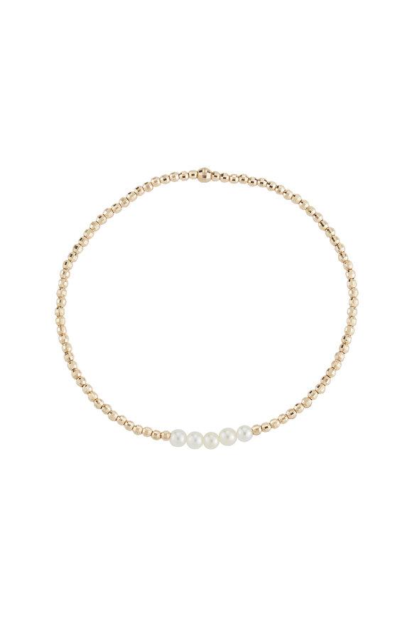 Mizuki Yellow Gold Five Pearl Bracelet