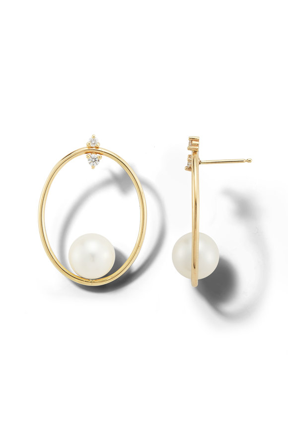 Mizuki Yellow Gold Pearl Oval Drop Earrings