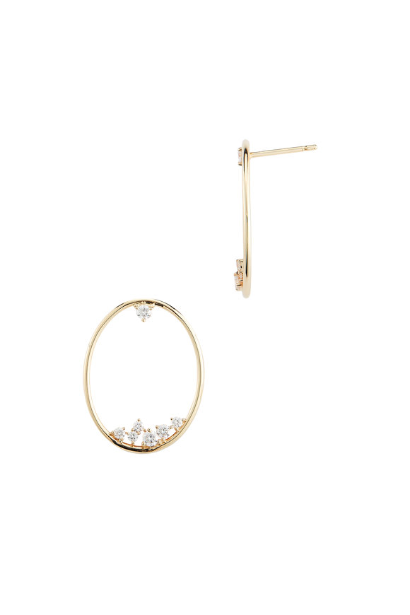 Mizuki Yellow Gold Diamond Oval Drop Earrings