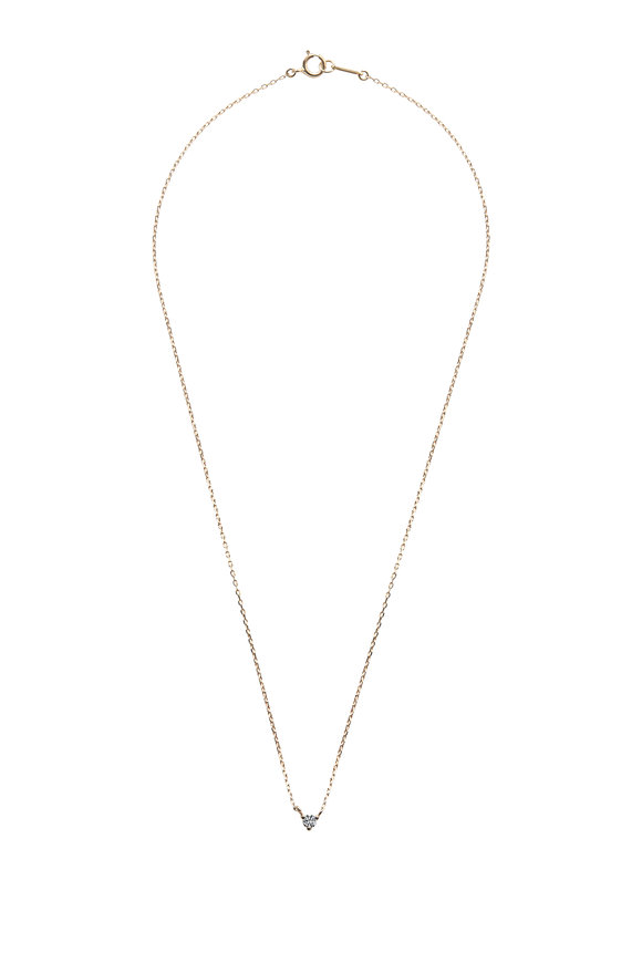 Mizuki Yellow Gold Solitaire Diamond Necklace