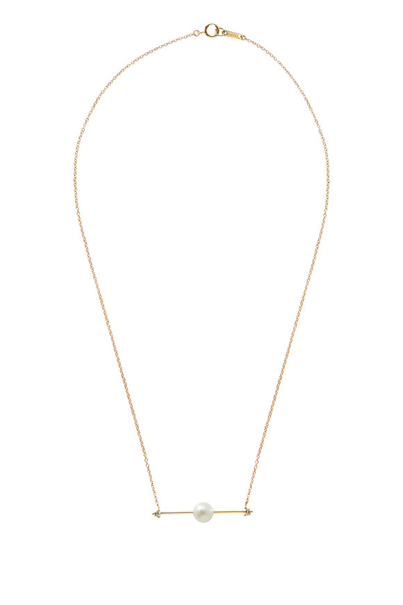 Mizuki Yellow Gold Floating Pearl Bar Necklace