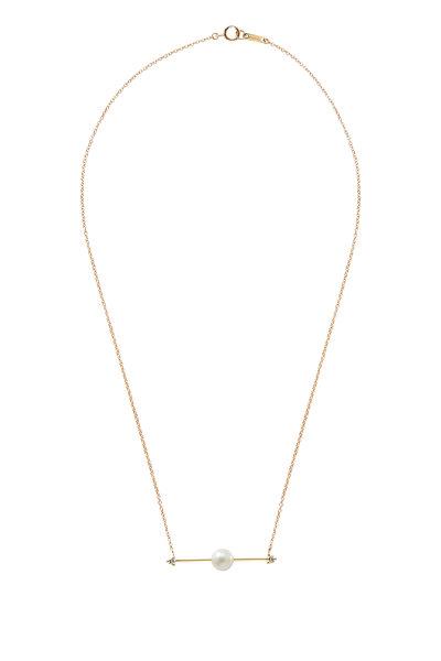 Mizuki - Yellow Gold Floating Pearl Bar Necklace