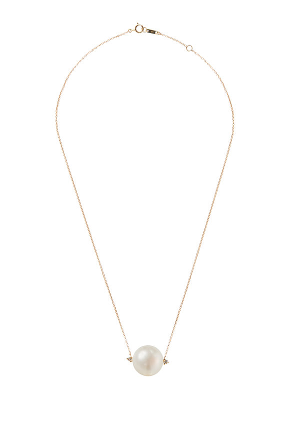 Mizuki Yellow Gold Large Pearl & Diamond Necklace
