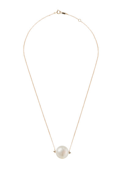 Mizuki - Yellow Gold Large Pearl & Diamond Necklace