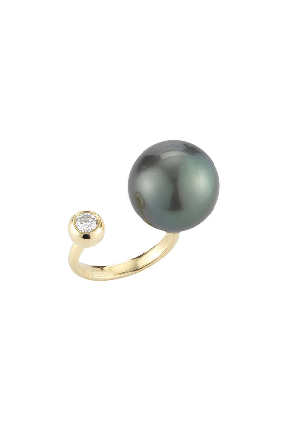 Mizuki 14K Yellow Gold Tahitian Pearl & Diamond Ring