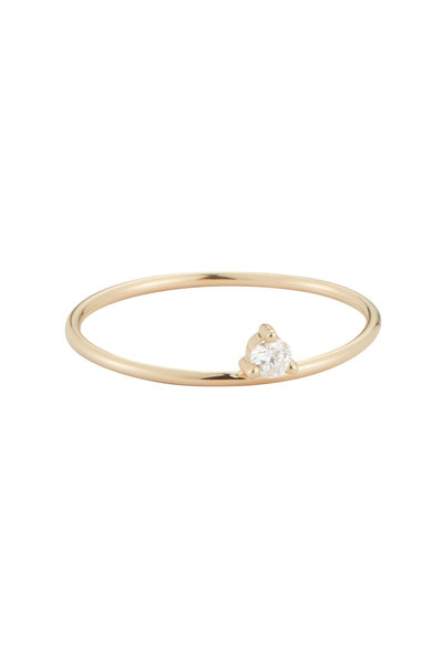 Mizuki - Yellow Gold Single Diamond Ring