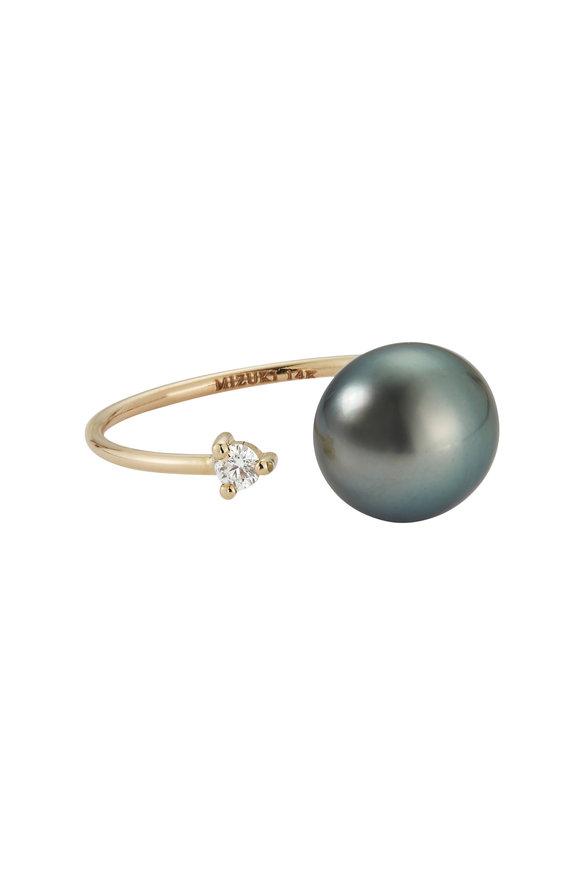 Mizuki Yellow Gold Open Tahitian Pearl & Diamond Ring