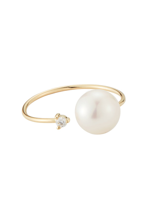 Mizuki Yellow Gold Open White Pearl & Diamond Ring