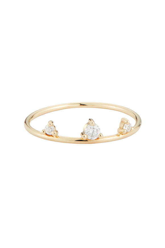 Mizuki Yellow Gold Three Diamond Ring