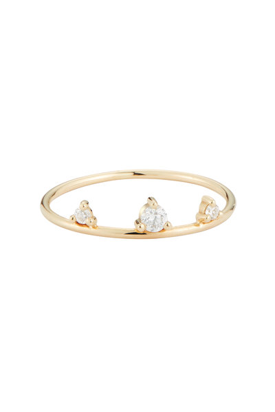 Mizuki - Yellow Gold Three Diamond Ring