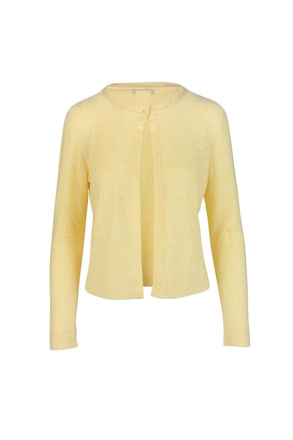 Akris Yellow Sequin Linen Blend Cardigan