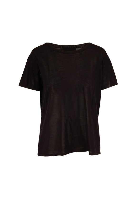 Nili Lotan Nevins Black Silk Short Sleeve Sweater
