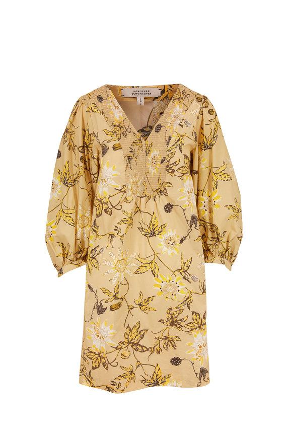 Dorothee Schumacher Mustard Delicate Floral Blouson Sleeve Dress