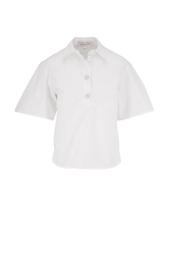 Carolina Herrera White Wide Pleat Sleeve Polo Shirt