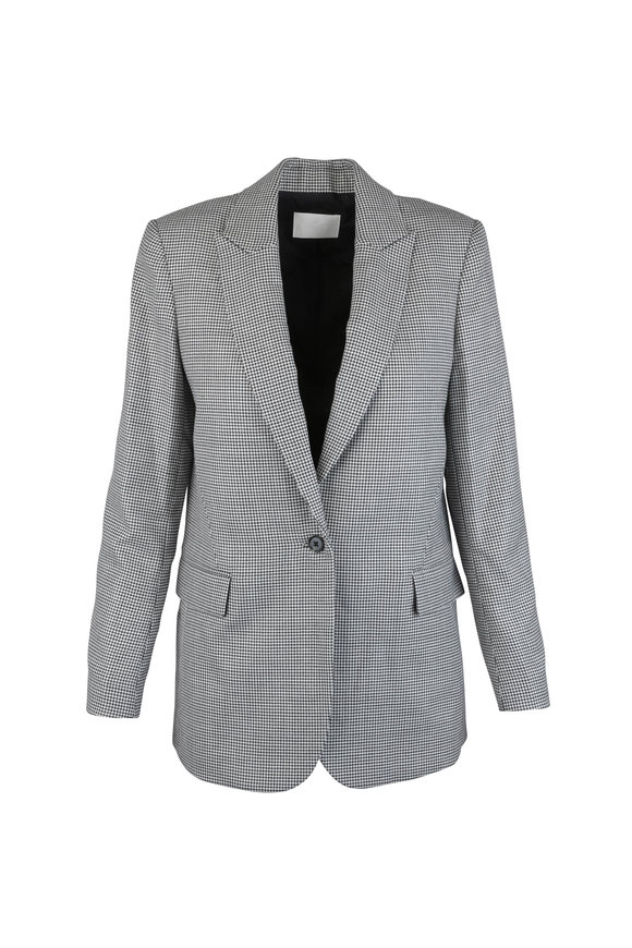 7 For All Mankind Tan & Black Houndstooth Wool Blend Jacket