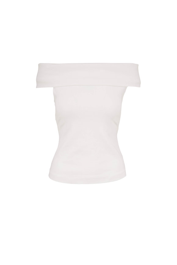 Rosetta Getty White Off-The-Shoulder Knit Top