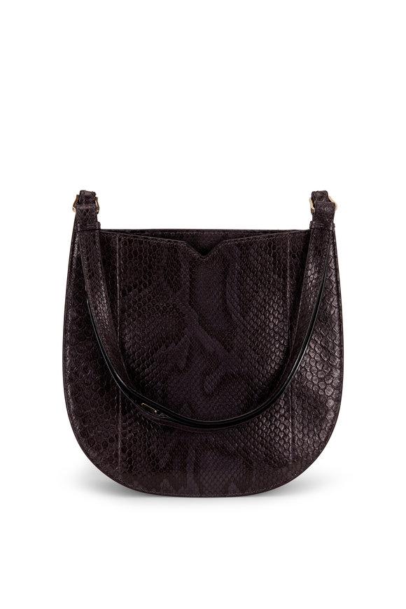 Valextra Weekend Gray Python Convertible Medium Hobo Bag