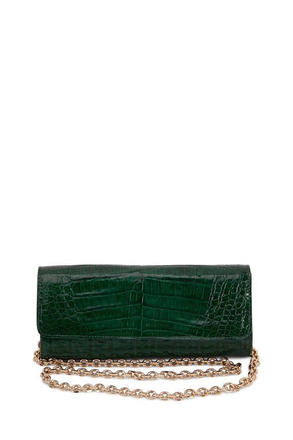 Judith Leiber Couture Kate Emerald Green Crocodile Chain Clutch