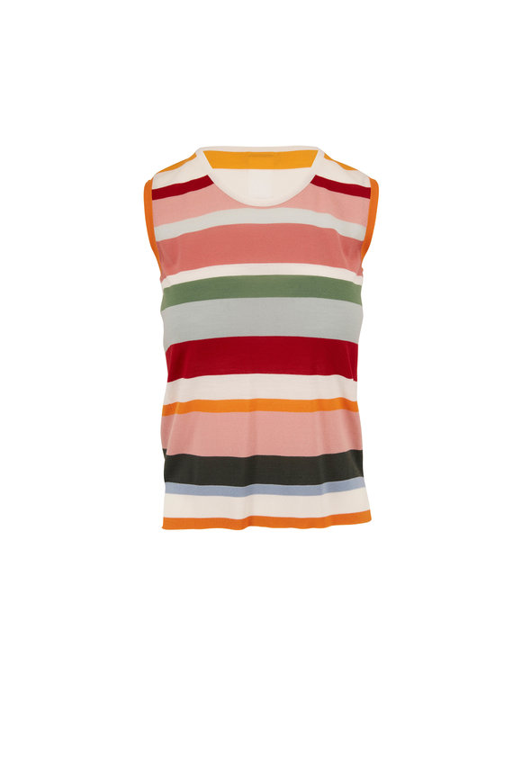 Akris Punto Multicolor Striped Wool Sleeveless Knit Top