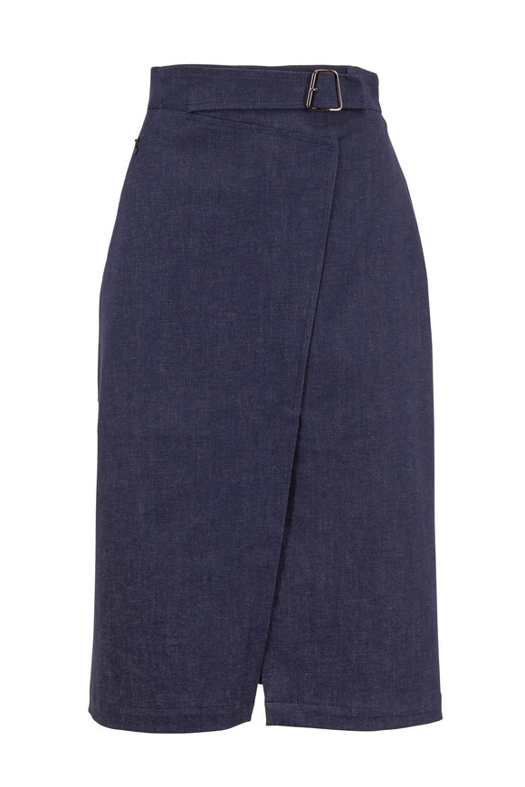Akris Denim Stretch Cotton Belted Midi Wrap Skirt