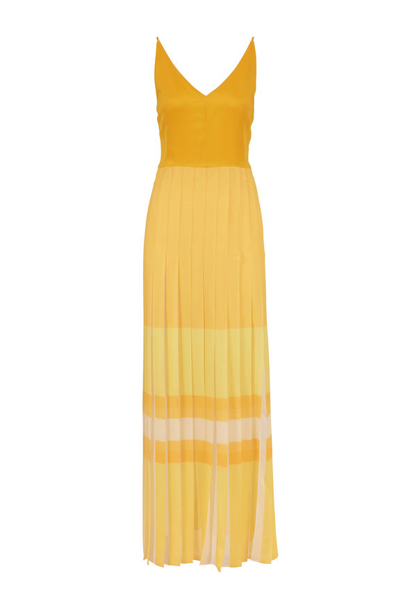Akris Horizon Silk Orizzonte Pleated Sleeveless Gown
