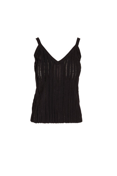 Brunello Cucinelli - Exclusively Ours! Black Linen & Lurex Pleated Tank