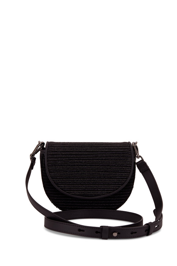 Brunello Cucinelli Black Raffia & Monili Small Belt Or Crossbody Bag