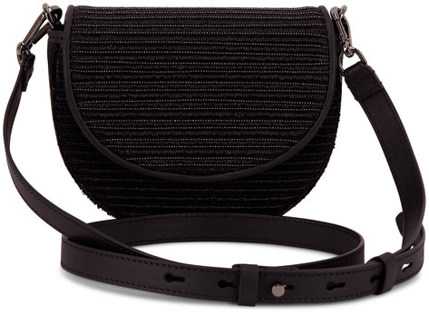Brunello Cucinelli Black Raffia & Monili Small Belt Or Crossbody Bag