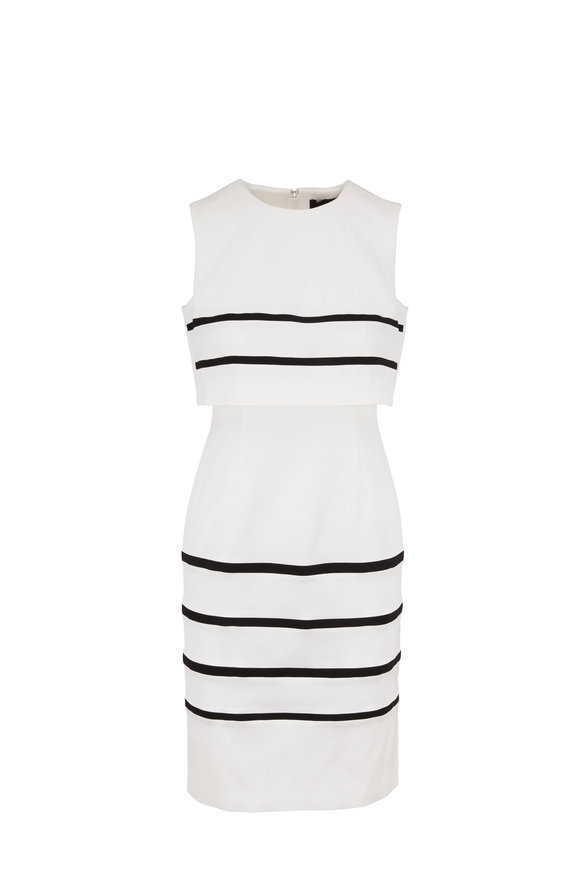 Paule Ka Off White & Black Stretch Ottoman Sleeveless Dress