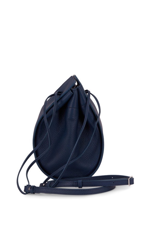 The Row Marine Blue Leather Small Drawstring Pouch