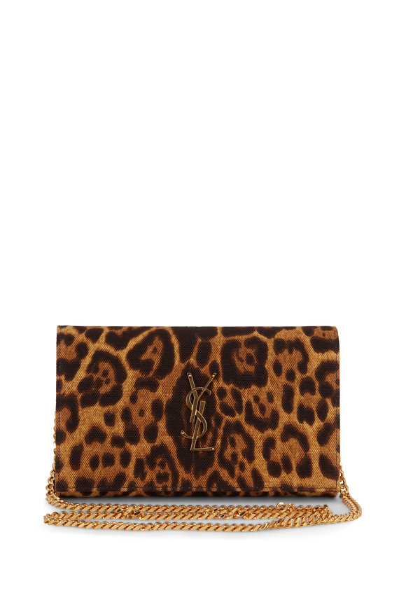 Saint Laurent Monogram Leopard Print Canvas Chain Wallet